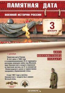 3 декабря — День неизвестного солдата